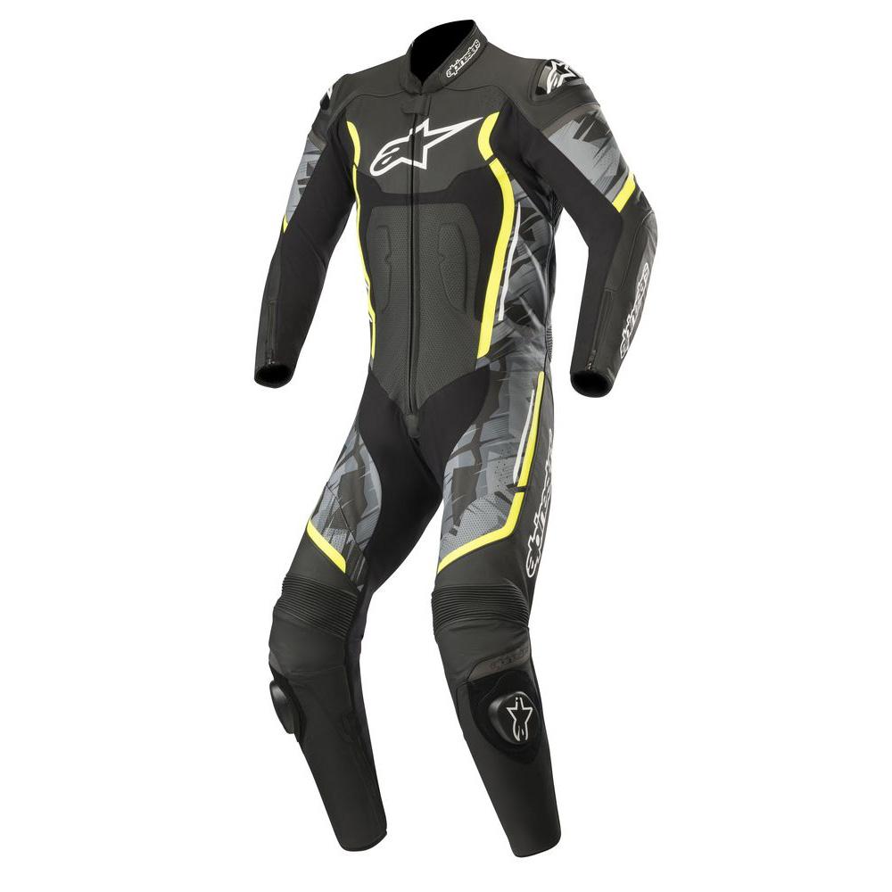 Alpinestars Motegi v2 1 Piece Leather Suit Black Camo & Yellow Fluo