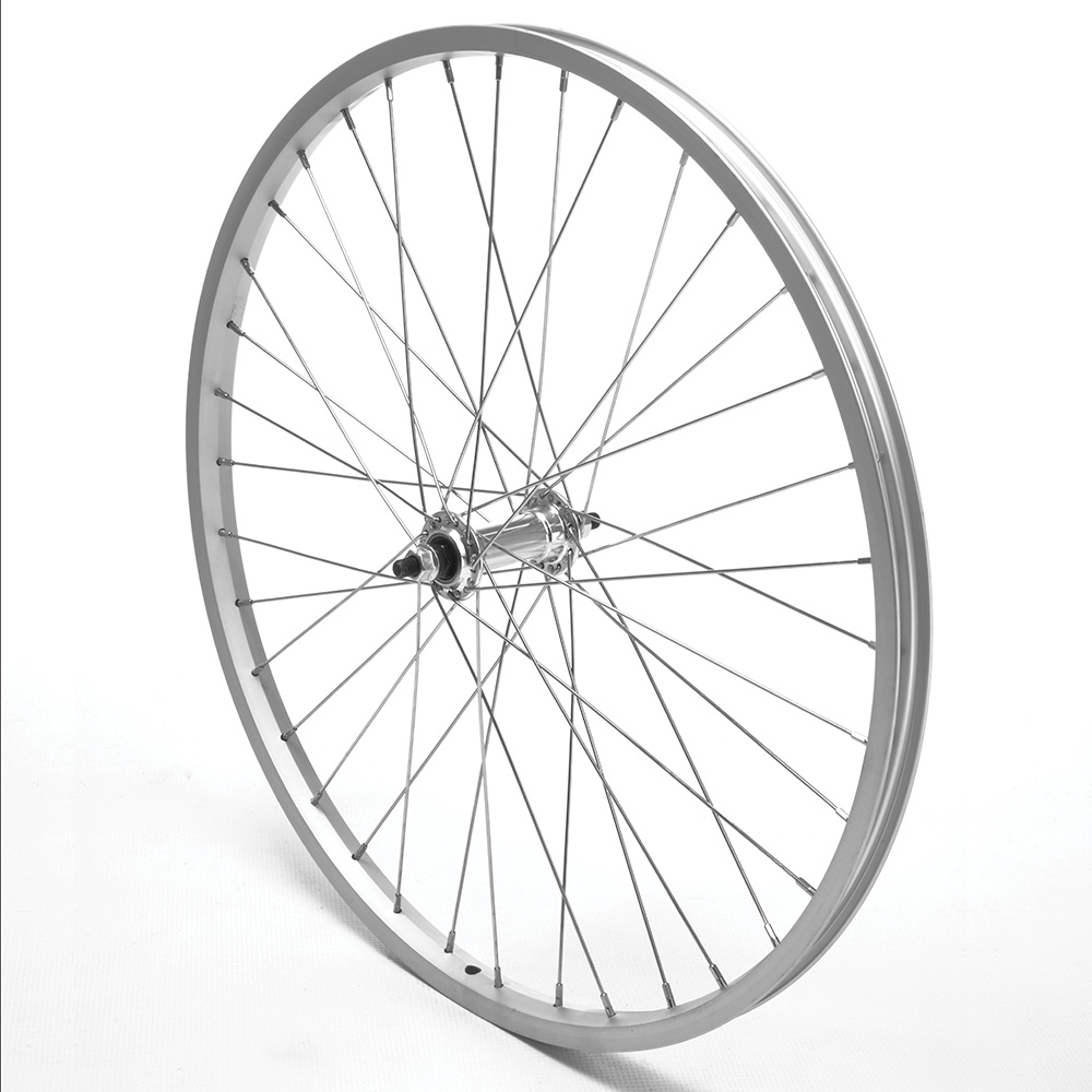 Front Wheel 700c Hybrid Silver Single Wall Nutted