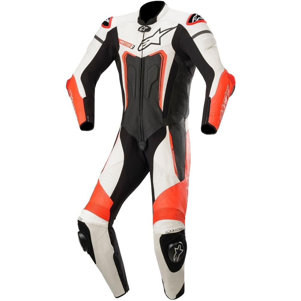 Alpinestars Motegi v3 1 Piece  Leather Suit 1  Black White & Red Fluo
