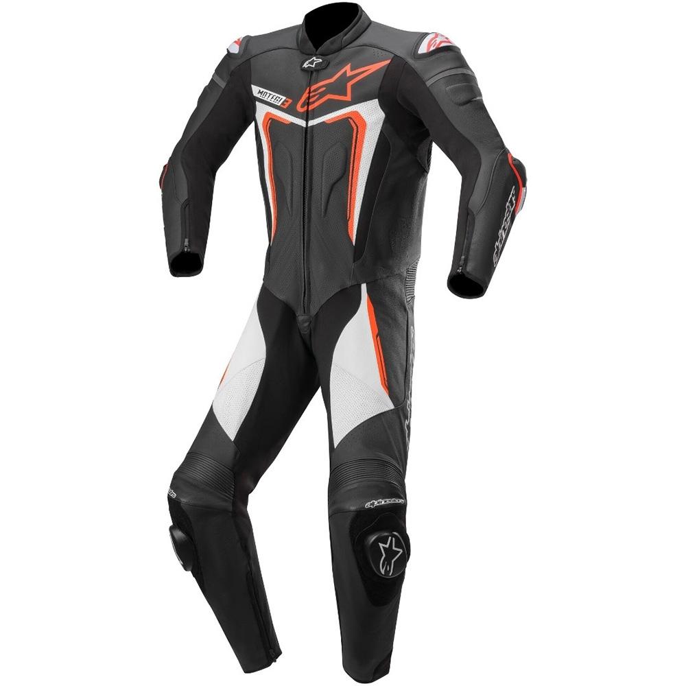 Alpinestars Motegi v3 1 Piece  Leather Suit 1  Black Red Fluo & White