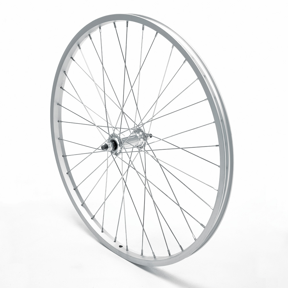 Front Wheel 24'' MTB Silver Single Wall Nutted V-Brake