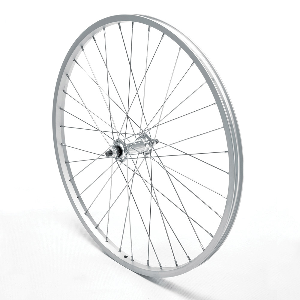 Front Wheel 26'' MTB Silver Single Wall Nutted V-Brake