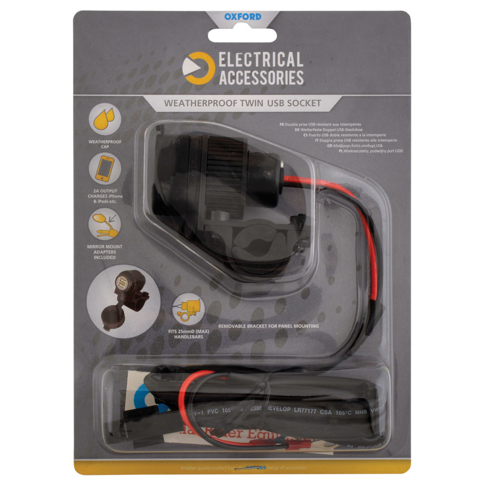 Oxford Weatherproof Dual Port USB charger  (5V 2Amp)