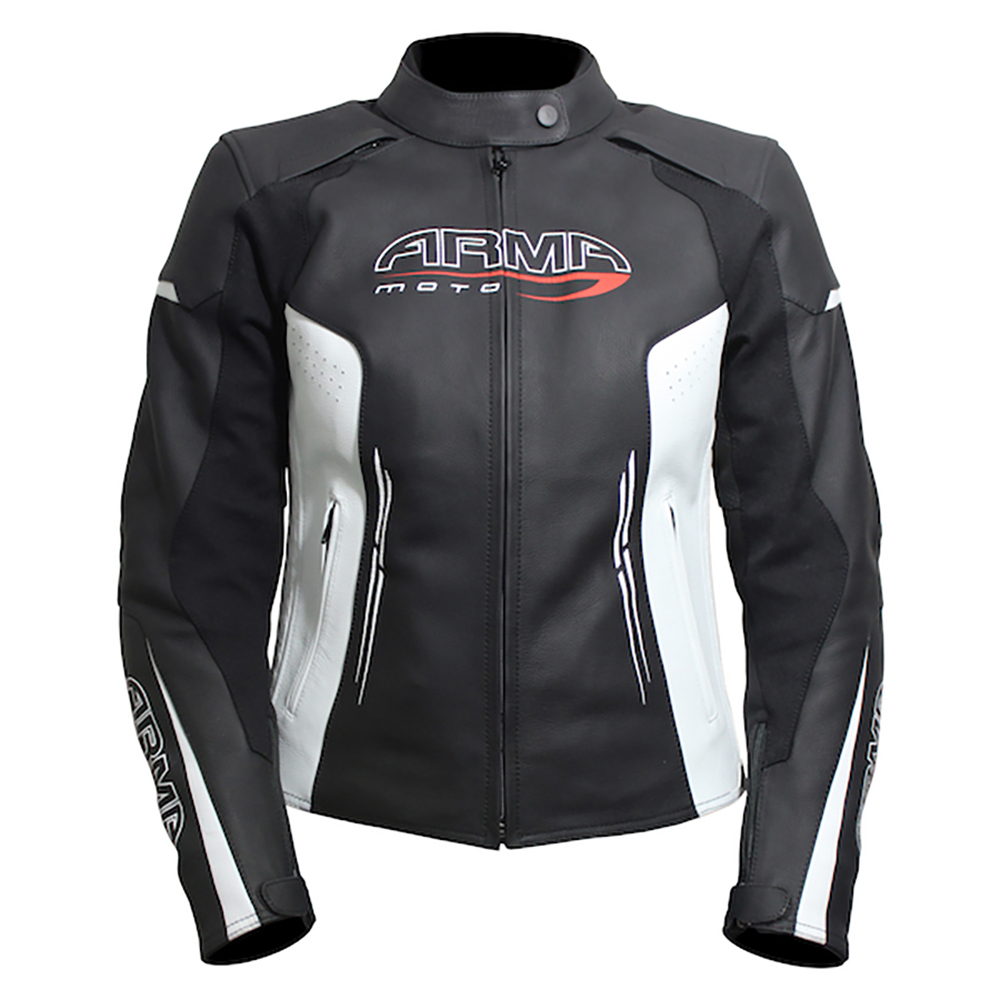 ARMR Kimi Ladies Leather Jacket - Black & White
