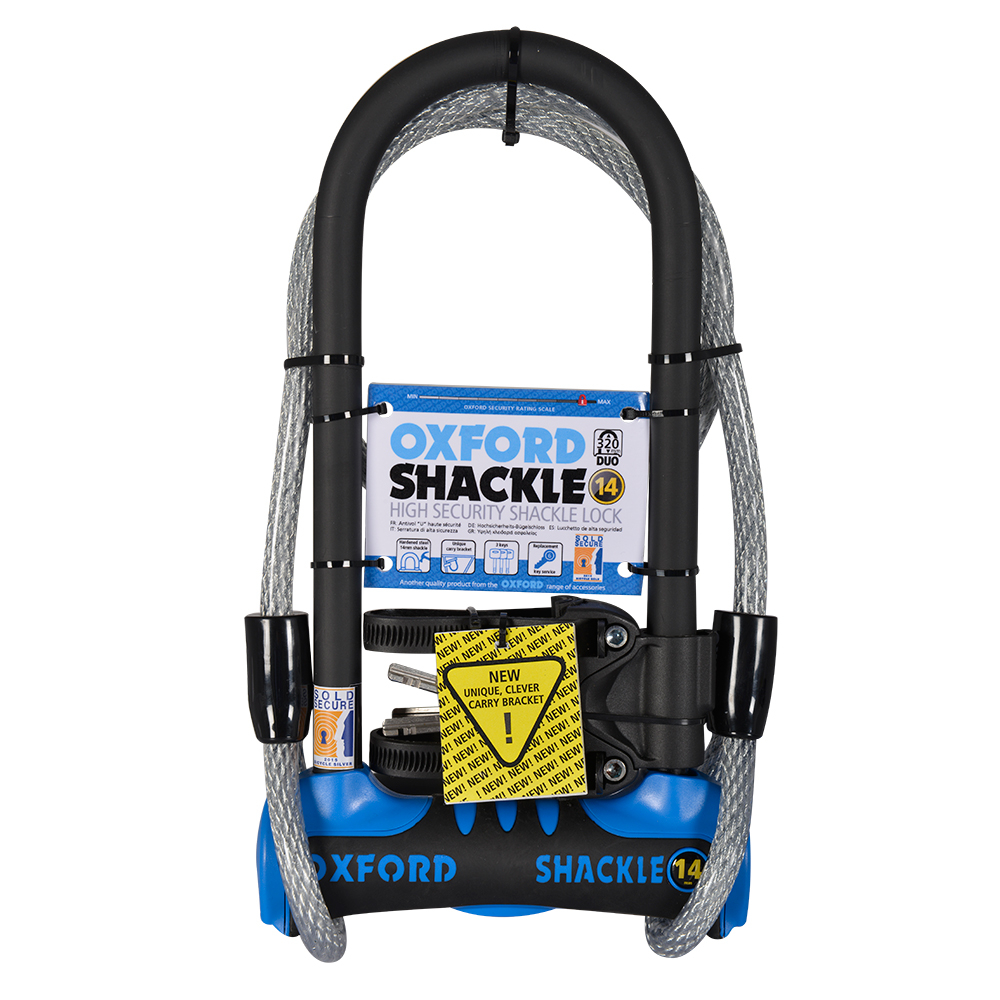 Oxford Shackle 14 Duo U-Lock 320mm x 177mm Blue