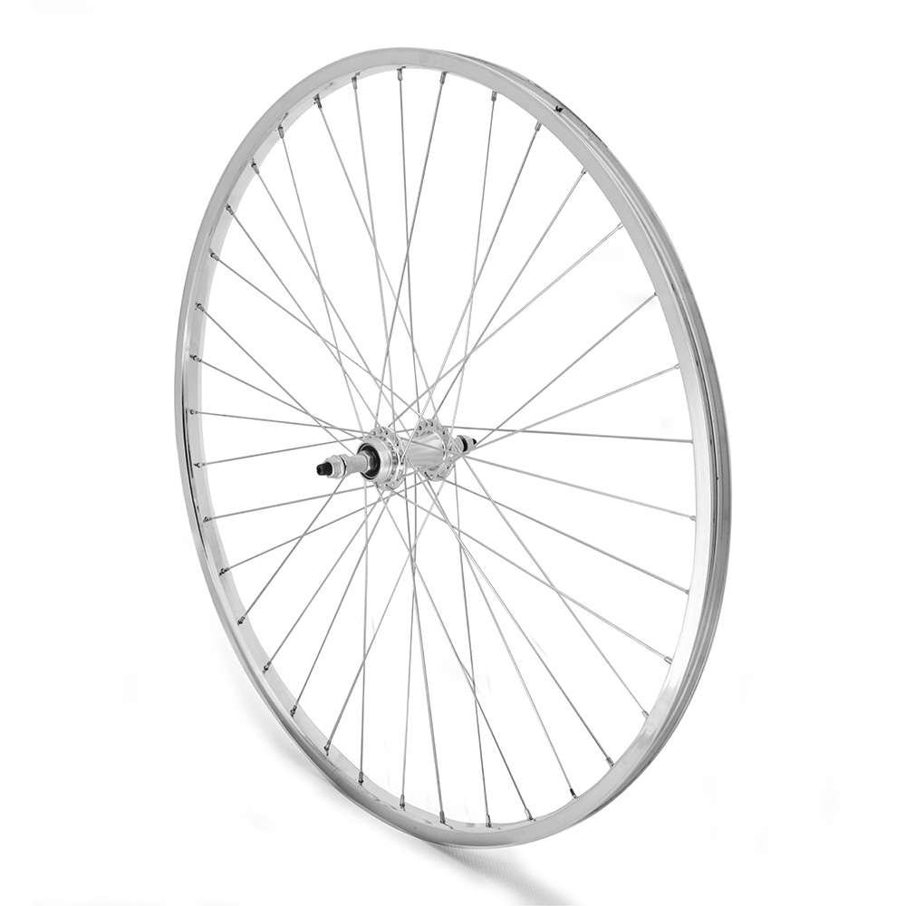 Rear Wheel 27 x 1 1/4 Freewheel Single Wall Silver Nutted