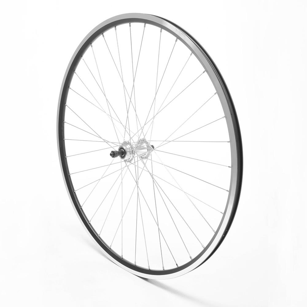 Rear Wheel 700c Road Freewheel Black Double Wall QR